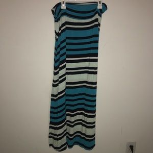 Blue stripe maxi skirt